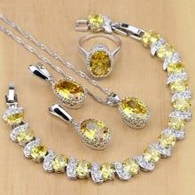 Biżuteria ze srebra próby 925 żółta cyrkonia zestawy biżuterii dla kobiet kolczyki/wisiorek/naszyjnik/pierścionki/bransoletka