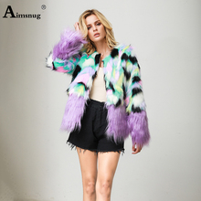 Plus Size S-4xl 2019 Autumn and Winter New Multicolor Female Coat Faux Fur Round Neck Plush Flocking Women Fox