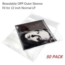 Fundas exteriores resellables de plástico OPP, 50 Uds., para discos de vinilo LP individuales de 12