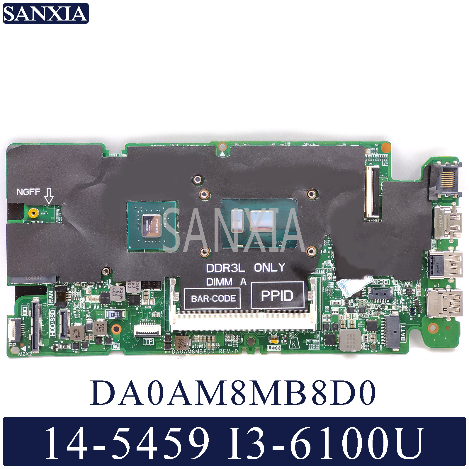 KEFU DA0AM8MB8D0 Laptop Motherboard For Dell Vostro 14-5459 Original Mainboard I3-6100U GT930M