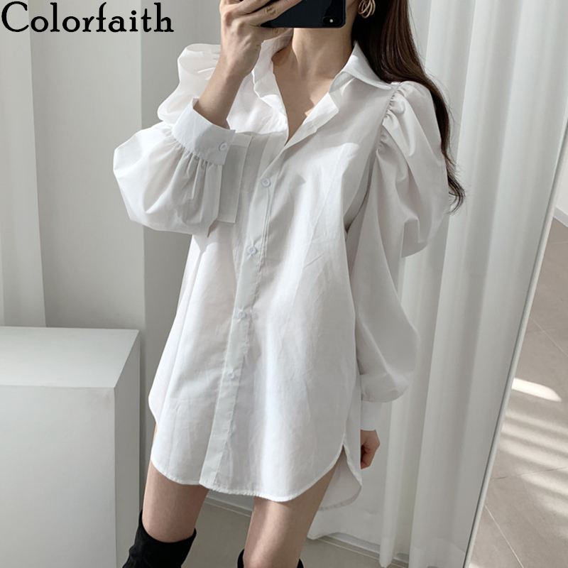 Colorfaith New 2020 Women Summer Blouse Shirts Fashionable Single Breasted Casual Pockets Puff Sleeve Wild Lady White Tops BL507