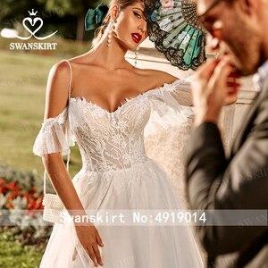 Image 3 - רומנטי טול אפליקציות חתונת שמלת Swanskirt PZ20 מתוקה מכתף אונליין תחרה נסיכת כלה שמלת Vestido דה novia