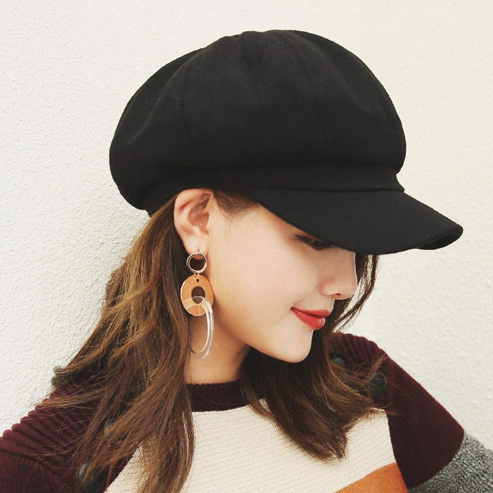 2019 New Women Wool Beret Vintage Solid Color Stylish Artist Painter Newsboy Caps Autumn Winter Octagonal Hat Cap