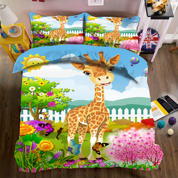 Cartoon Printed Duvet Cover set Giraffe Garden Animation Pattern kids Room Bedding Single Bedding set Super soft Washable Fabric