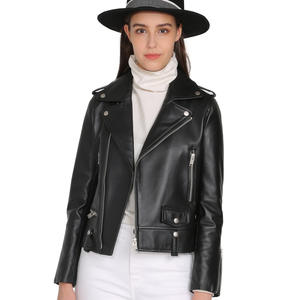 Biker Jacket Coat Spring Motorcycle Sheep-Leather Real-Sheepskin Women Fashion Rivet