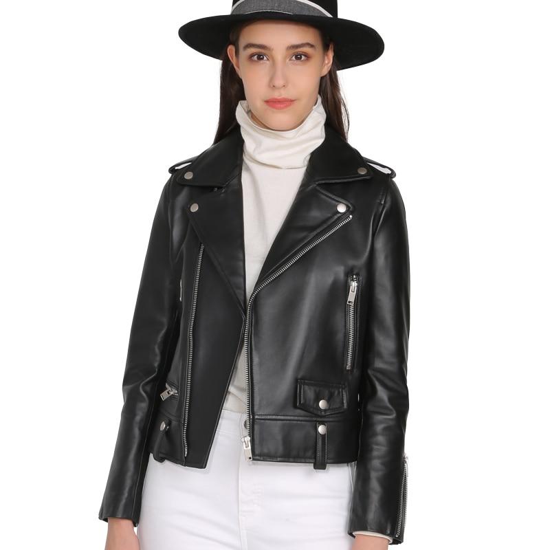 Spring Genuine Leather Jacket Women 2019 Fashion Real Sheepskin Coat Rivet Motorcycle Biker Jacket Female Sheep Leather Coat