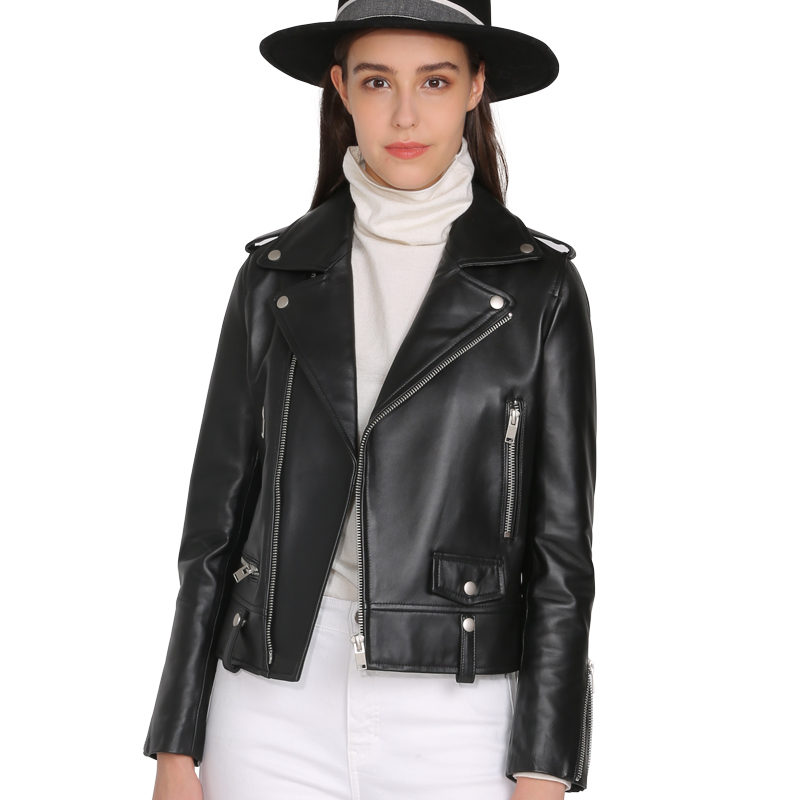 YUELANDE Women Slim Fit Motorcycle Biker Notch Lapel Faux Leather Zip Up Jacket