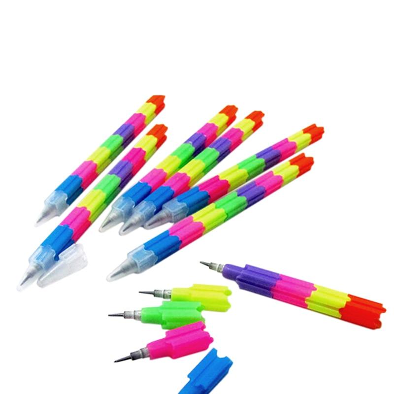 5pcs 8 Color Creative Rainbow Multifunction Stacker Bullet Head Block Pencil Pen