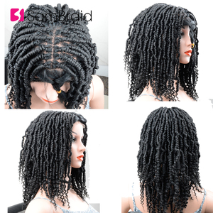 Image 3 - SAMBRAID DIY Crochet synthetic Braiding Hair Ombre Lace Front Wig With Crochet Braids Spring Passion Twist Lace Wig For Women