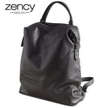 Zency Black Fashion Women Backpack 100% Real Cow Genuine Leather Schoolbag For Girl Female Travel Bag Large Laptop Knapsack(China)