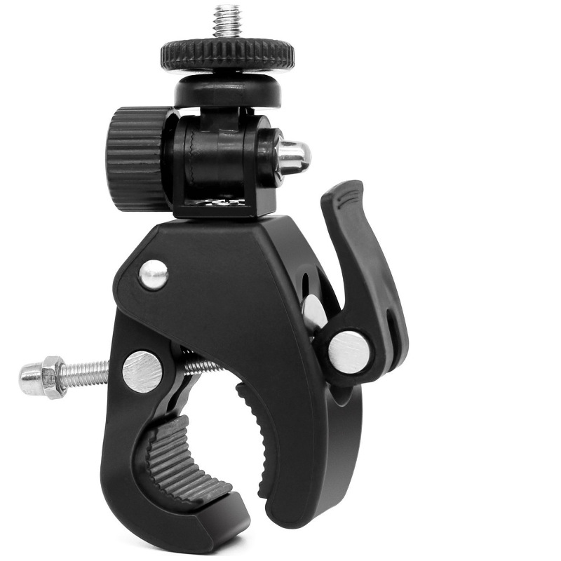 Black Bicycle Motorcycle Handlebar Camera Mount Tripod Adapter Camera Clip Adjustable