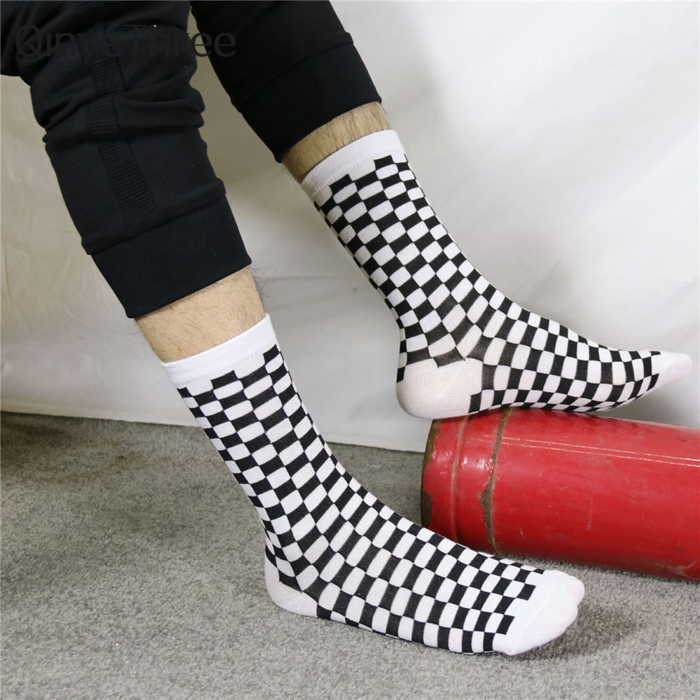 Men's Happy Harajuku Stripes White Black Checkerboar Lattice Socks Hipster Skateboard Rock Punk Business Sport Street Dance Sox