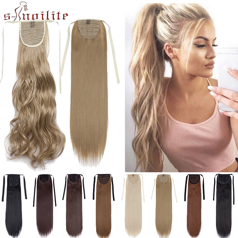 S-noilite Clip In Ponytail Long Wavy Synthetic Hair Extension Hair Piece Wrap Around Ponytail Hair Tail Clip Exension Hair Women