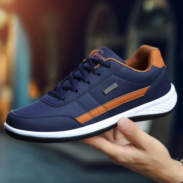 Leather Men Shoes Sneakers Trend Casual Shoe Italian Breathable Leisure Male Sneakers Non-slip Footwear Men Vulcanized Shoes 5