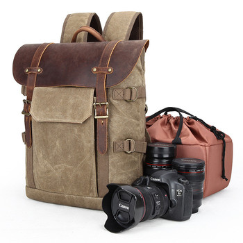 Double Shoulder Camera Bag DSLR Camera Bag Waterproof Batik Canvas Retro Digital Camera Backpack Photo Bag Large Capacity
