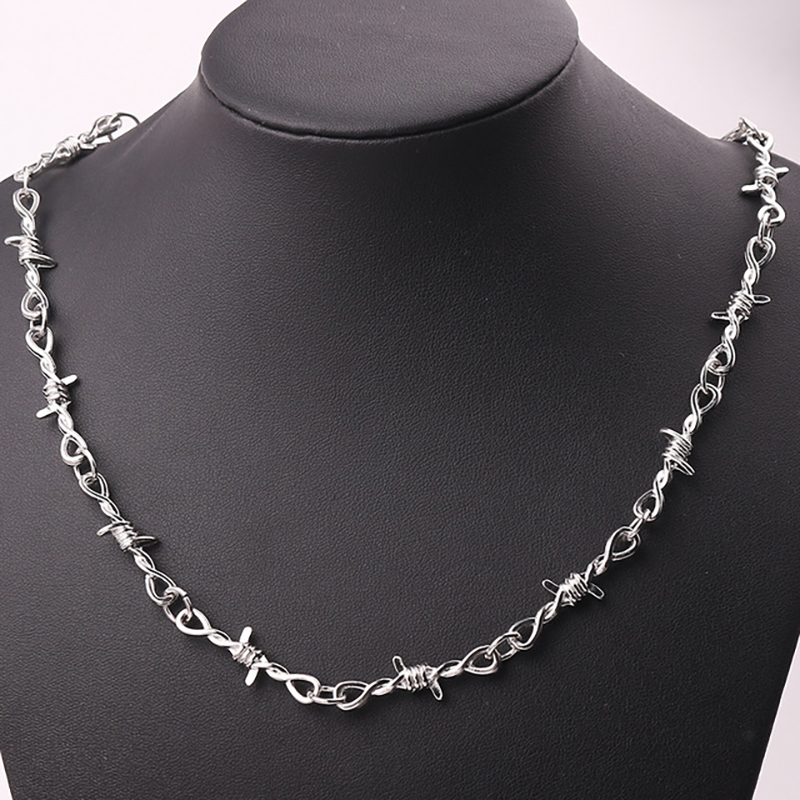Gothic Short Exaggerated Necklace Punk Style Barbed Wire Brambles Link Chain Choker Gifts for Friends Collares De Moda