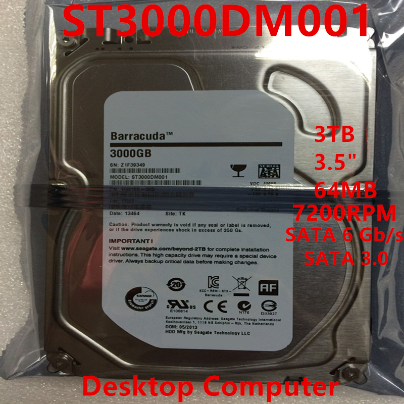 """New HDD For Seagate Brand BarraCuda 3TB 3.5"""" SATA 6 Gb/s 64MB 7200RPM For Internal Hard Disk For DesktopHDD For ST3000DM001 1"""