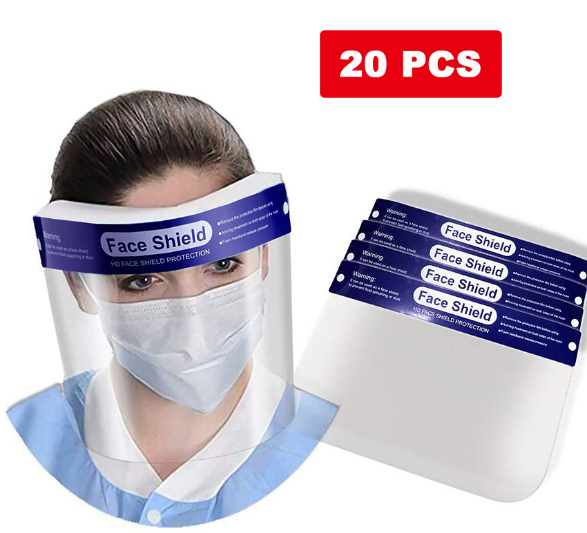 20pcs Face M/Ask Outdoor Transparent Safety Waterproof Anti-dust Droplet Saliva Full Face Cover Protective Film Tool