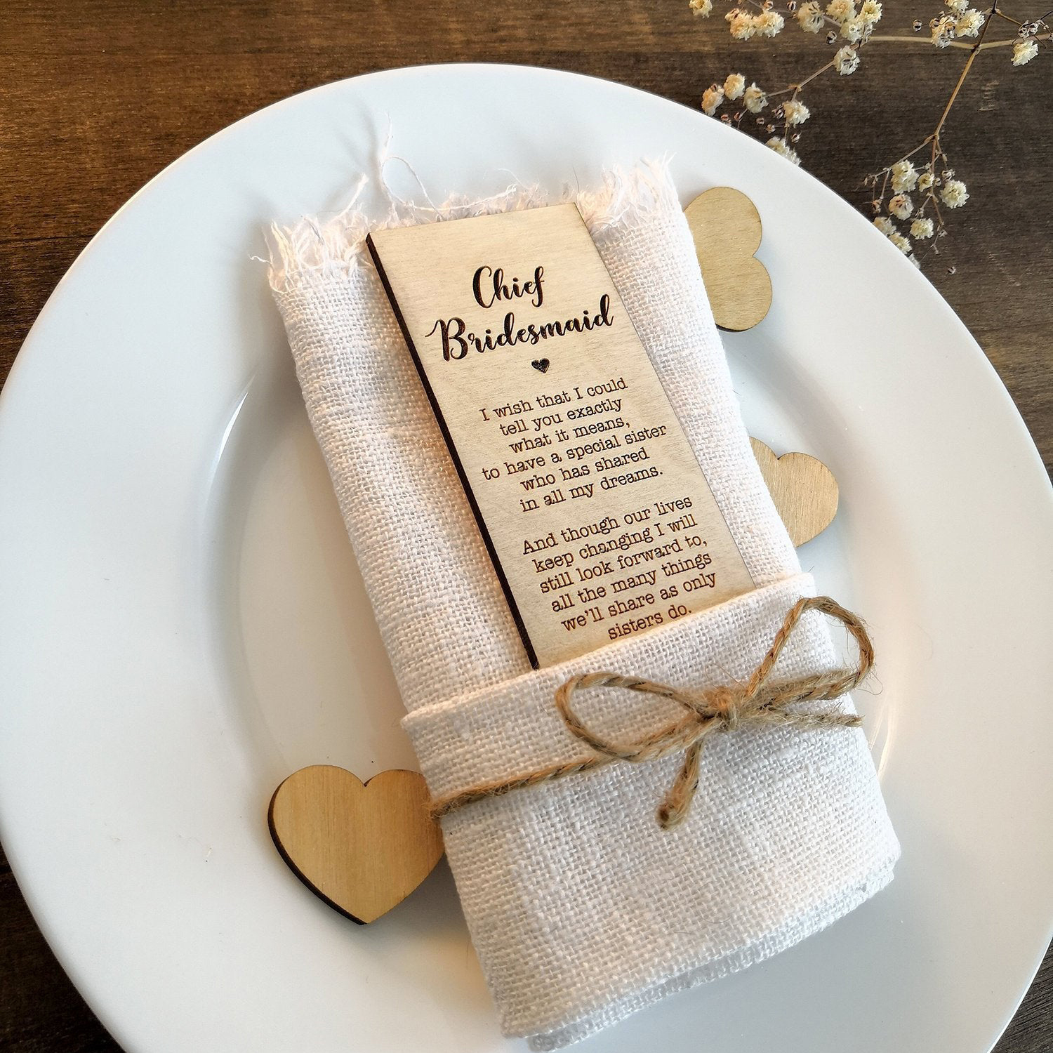 Wooden Guests Place Setting With Best Man Place Card Rustic Wedding Bridesmaid Place Card