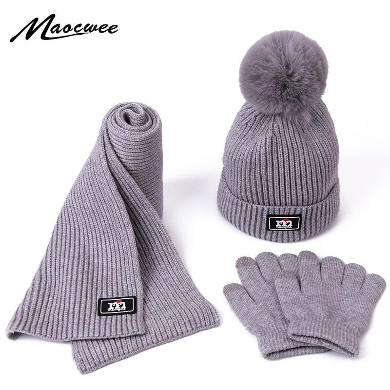 Children Winter Warm Knitted Beanie Cap Scarf Gloves Set Outdoor Warm Beanie With Lining Kids Pom Pom Hat Scarf Gloves 3 PCS Set