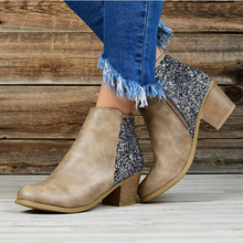 Women Autumn Winter Boots Ponited Toe Shoes Pure Color Booties Buckle Strap Squa