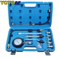 Testador de compressão de motor  instrumentos profissionais de gasolina  kit de testador de compressão de motor  cilindro  com m10 m12 m14 m16 m18