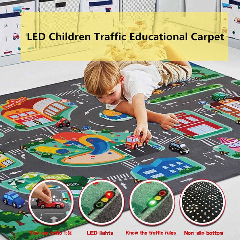 Children's Educational Carpet Traffic Urban Road LED Baby Play Mat Crawling Pad Kids Rug Infant Non-slip Developing Mats Blanket
