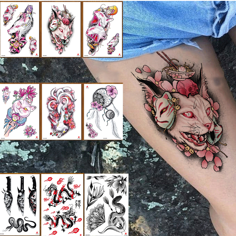 Temporary Tattoo Sticker Large Size Body Art Flower Moonlight Cat God  Water Transfer Fake Tattoo Flash Tatto For Women Men