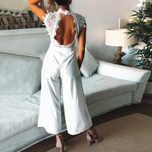 Sexy Sleeveless Backless Ruffled Jumpsuit For Women Elegant Hollow Out Womens Long Jumpsuits 2019 Summer Romper Casual Overalls