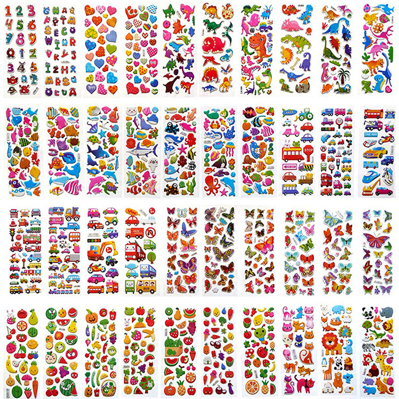 12pcs/pack Randomly cartoon stickers for kids kawaii 3D puffy bubble stickers boys girls gift