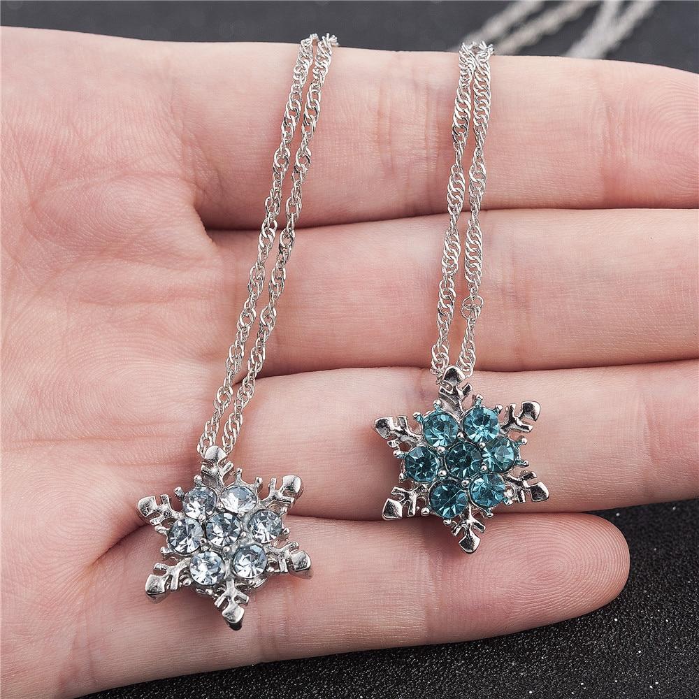 Collares y colgantes de flores de zirconio con copos de nieve de cristal azul para mujer y Chica, regalo de joyería al por mayor