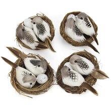 Cage-Set Bird Nest Gardening-Decoration 9cm Desktop-Ornament Simulation Photography-Props