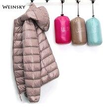 Зимний женский сверхлегкий тонкий пуховик, белый утиный пух, куртки с капюшоном, теплое пальто с длинным рукавом, парка, Женская портативная верхняя одежда