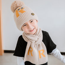 Baigu Cartoon R Standard Children Yarn Hat Scarf Two-Piece Set Korean-style Autumn And Winter New Style Warm Big Kid Knitted Hat(China)