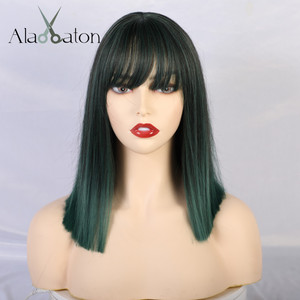 Image 2 - ALAN EATON Women Medium Straight Synthetic Wigs High Temperature Hair with Fringe/bangs Mix Green Black Bobo Lolita Cosplay Wig