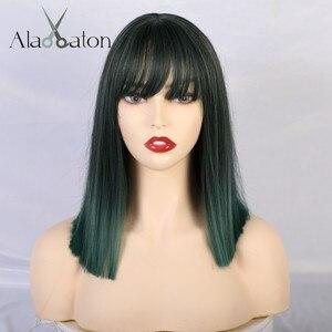 Image 2 - Женские средние прямые синтетические парики ALAN EATON, термостойкие волосы с бахромой/челкой, смешанный зеленый и черный парик Bobo Lolita для косплея