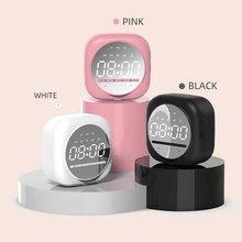 Speaker Bluetooth Support Q12 Alarm-Clock Mirror Subwoofer Tf-Card Led Multifunctional