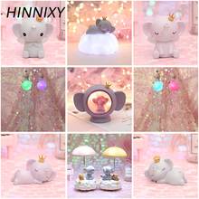 Hinnixy Cute Resin Elephant Night Light Pink Blue Dreamcatcher Crown Animal Table Lamp Bedroom Decor Girl Children Gift
