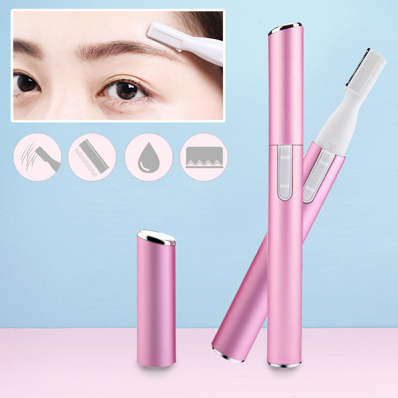 Women Electric Epilator For Bikini Body Face Underarm Battery Lady Eyebrow Trimmer Pink Facial Hair Shaver With Limit Comb