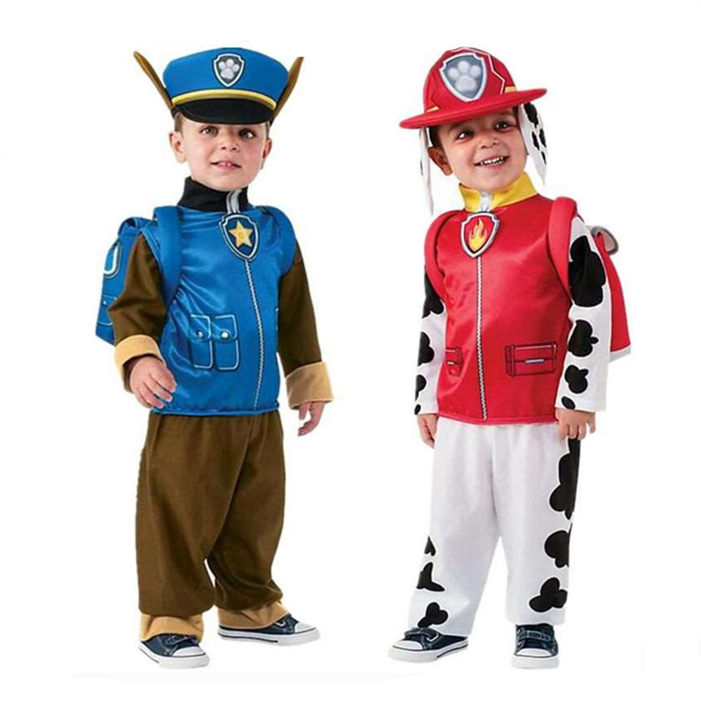 Free Ship Paw Patrol Kids Boys Girls Birthday Purim Marshall Chase Skye Cosplay Costume Patrol Dogs Children Ryder Party Role