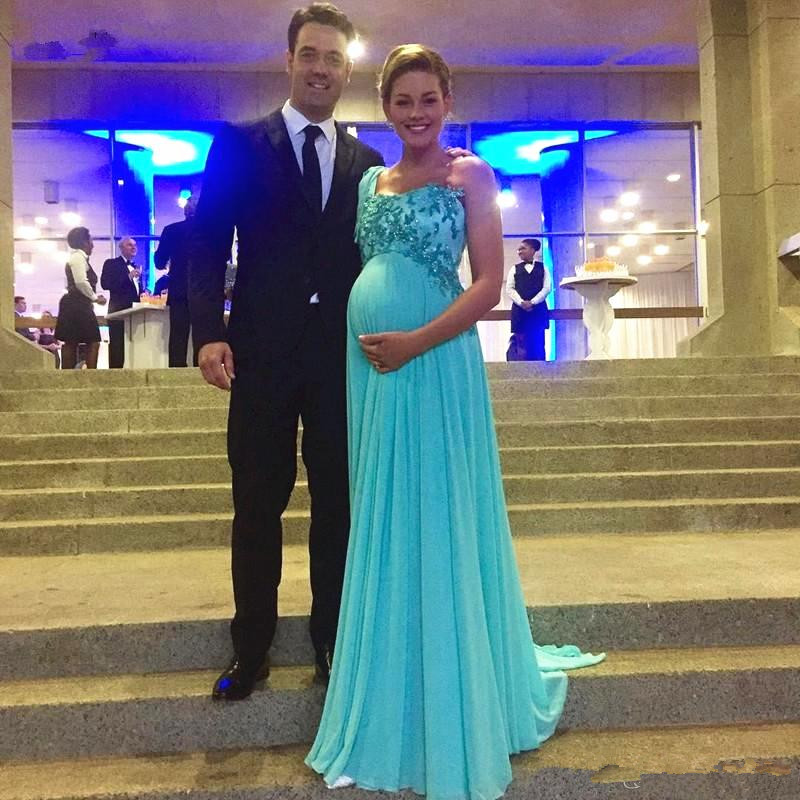 Teal Chiffon Maternity Evening Dress One Shoulder Sparkly Appliques Lace Empire Waist Pregnant Formal Party Dress Custom Size