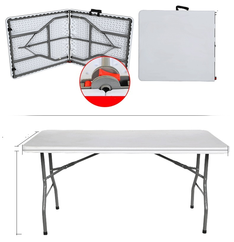1.5m Portable Foldable Multi-functional Long Table Home Table Training Meeting Table Office Table Picnic Barbecue Camping Table