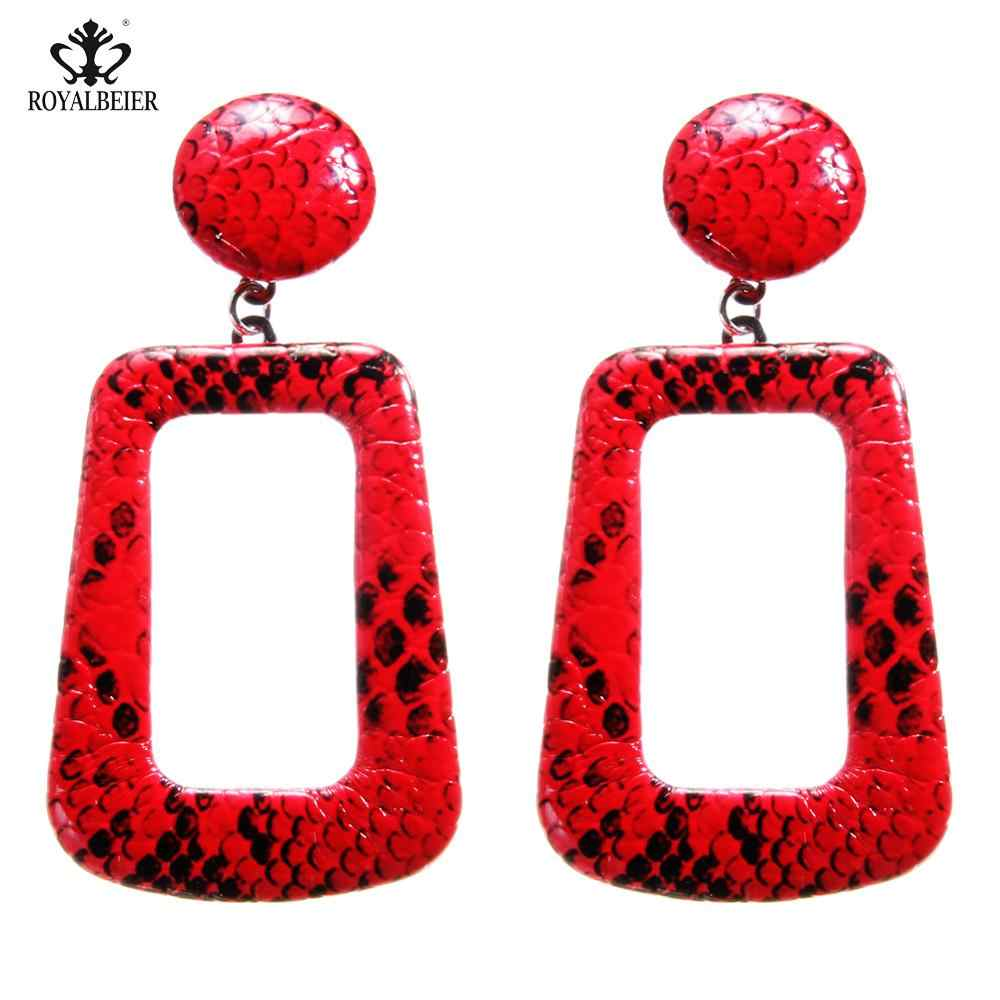 New Bijoux Women Punk Vintage Big Snake Skin Dangle Earrings Rectangle Oversize Geometric Drop Snake Earrings Fashion Jewelry