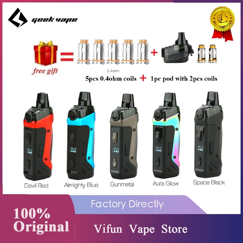 Free Coils & Pod!! Geekvape Aegis Boost Pod Vape Kit 1500mah Battery & 3.7ml Pod Fit Both Pod & RDTA Ecig Vape Kit Vs Vinci/Solo
