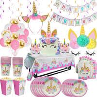Juego de suministros de cumpleaños de unicornio arcoíris sirve para 8 platos desechables de flores de unicornio para niños/taza/mantel/pancarta de decoración para Baby Shower