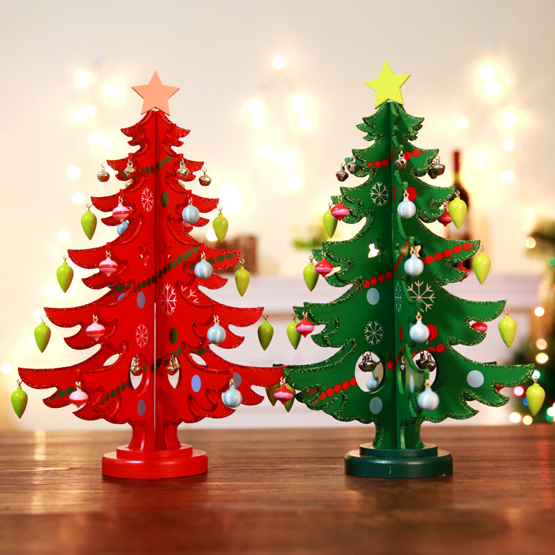 DIY Wooden Christmas Decoration Trees New Year Gifts Kids Toys Artificial Tree Window Prop Desktop Ornaments Christmas Tree Set