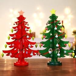 DIY drewniane dekoracje świąteczne drzewa prezenty na nowy rok zabawki dla dzieci sztuczne drzewo okno Prop ozdoby na biurko zestaw choinkowy w Posągi i rzeźby od Dom i ogród na