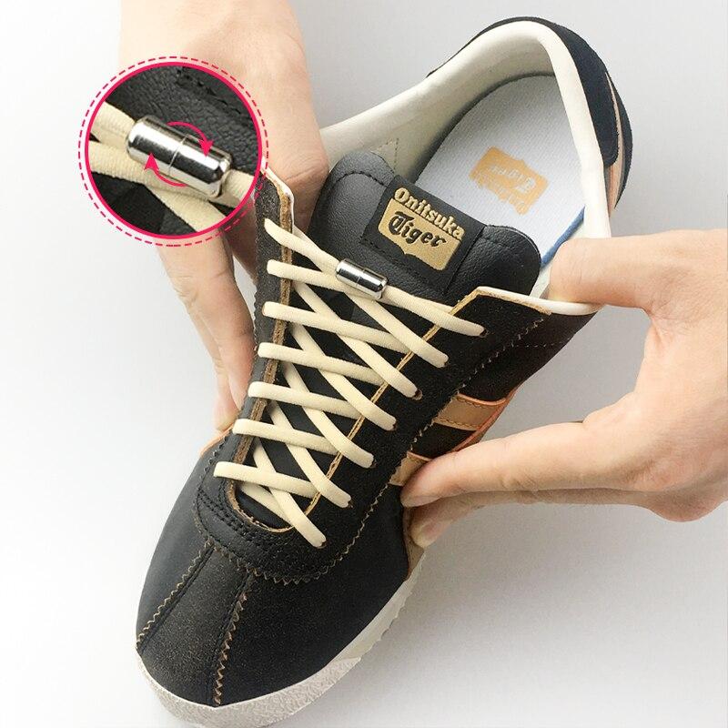 1Pair Metal Lock Shoelaces Round Elastic Shoe Laces Special No Tie Shoelace For Men Women Lacing Rubber Zapatillas 17 Colors