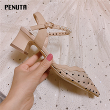 2020 PENUTA Female Sandals Heels Polka Dot Sandals Air Mesh Fairy Shoes For Women Pearl Ankle Strap Ladies Chunky Heels X0029 original intention new gorgeous women sandals nice polka dot open toe chunky heels sandals popular shoes woman plus us size 4 15