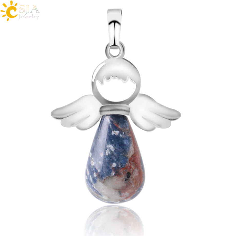 CSJA Natural Stones Angels Pendant for Necklace Pink Quartz Onyx Pendants Silver-color Water Drop Female Child Jewelry Gift E949(China)